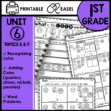 Math Worksheets 1st Grade Recognizing and Counting Coins