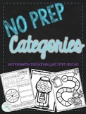 Print and Go: No Prep Categories