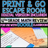 Print and Go No Prep Escape Room Game | 4th Grade Math Review Distance Learning