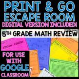 Print and Go No Prep Escape Game | 5th Grade Math Review D