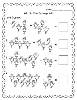 November Math Activities First Grade