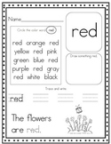 Print and Go!  Pre-K and Kindergarten Color Word Worksheets