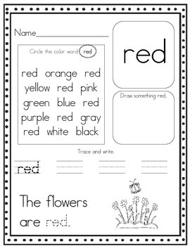 Color Words Worksheets | Teachers Pay Teachers