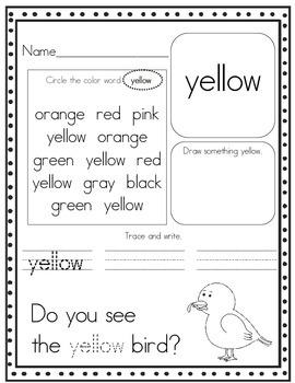 Print and Go! Pre-K and Kindergarten Color Word Worksheets ...