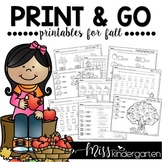 Fall Activities Math and Literacy Worksheets