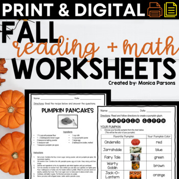 Print and Go Pumpkin Unit - Literacy and Math Activities for Grades 3 and 4