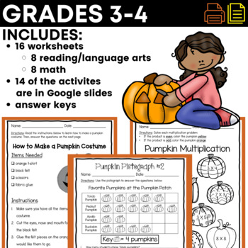 Print & Go! Pumpkin Unit - Literacy & Math (NO PREP)