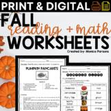Fall Reading and Math Activities (NO PREP) Third and Fourth Grade