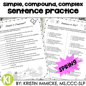 No Prep Sentence Packet - Spring Theme