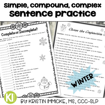 Print-and-Go Simple, Compound, & Complex Sentences - Winter