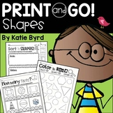 Print and Go! Shapes and Geometry (NO PREP)   Distance Learning