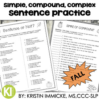 Print-and-Go Simple, Compound, & Complex Sentences - Fall