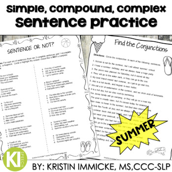 Print-and-Go Simple, Compound, & Complex Sentences - Summer