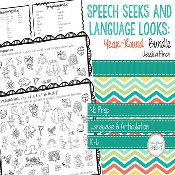 Print and Go Speech Seeks and Language Looks: Year-Round Bundle
