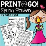 Print and Go! Spring Garden Math and Literacy (NO PREP) Di