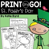 Print and Go! St. Patrick's Day Math and Literacy (NO PREP)