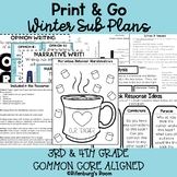 Print and Go Sub Plans - Editable Sub Plans - Third Grade - Winter Sub Plans