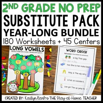 Sub Plans NO PREP Review Worksheets YEAR LONG BUNDLE 2nd Grade