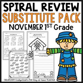 Sub Plans NO PREP Review Worksheets for November 1st Grade