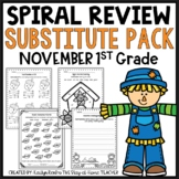 Sub Plans NO PREP Review Worksheets for November 1st Grade
