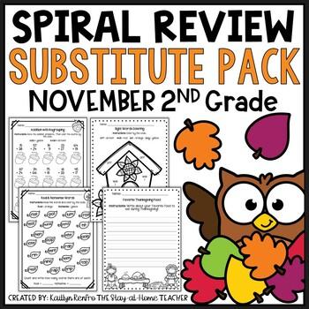 Sub Plans NO PREP Review Worksheets for November 2nd Grade