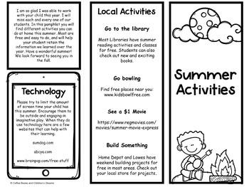 Print and Go Summer Activities Freebie