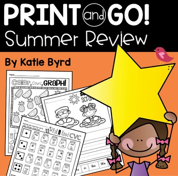Print and Go! Summer Review Math and Literacy for Kindergarten going into First