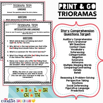Print and Go Trioramas for Articulation, Language and Social Skills