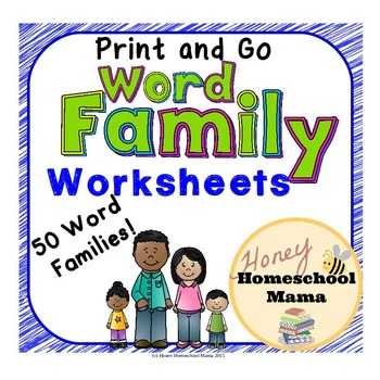 Print and Go Word Family Worksheets - Set of 50 Sheets