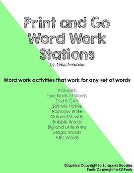 Print and Go Word Work Stations