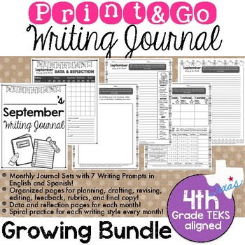 Print and Go Writing Journal (English and Spanish) *GROWING BUNDLE*
