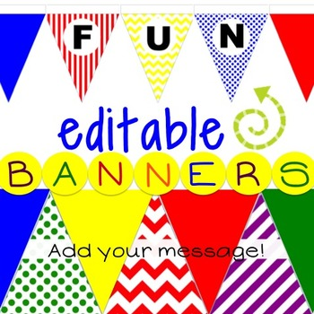 Print and Hang 9 inch tall wall flags - Editable - Primary