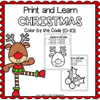 Print and Learn: CHRISTMAS-Color by the Code {0-10}