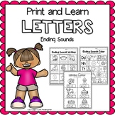 Print and Learn- LETTERS {Ending Sounds}