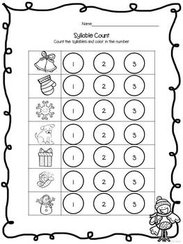 Print and Learn: Literacy and Math Worksheets-December