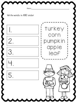 Print and Learn: Literacy and Math Worksheets-November
