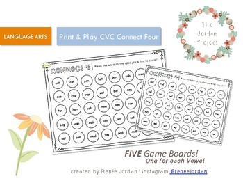 Print and Play CVC Sight Word Connect 4