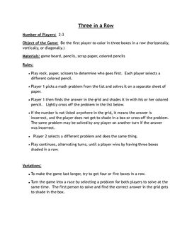 Print and Play Math Games - 2 Digit Addition - No Regrouping