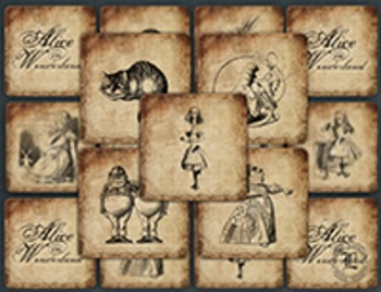Print and Play Memory Game Alice in Wonderland Vintage Illustrations