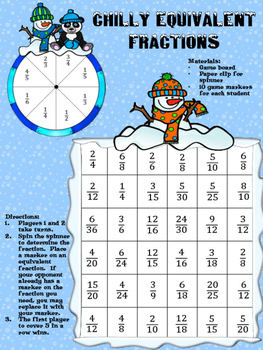 Print and Play Winter Equivalent Fractions Game