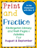Print and Practice Literacy and Math for August and September