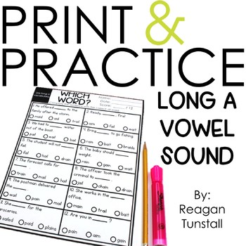 Print and Practice Long a Vowel Sound