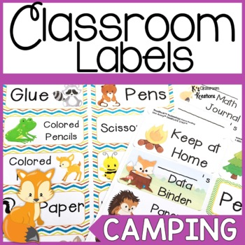 Print and Stick Camping and Forest Themed Classroom Labels