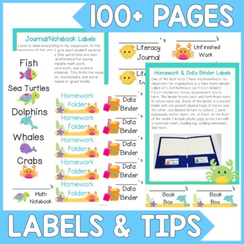 Print and Stick Ocean Themed Classroom Labels