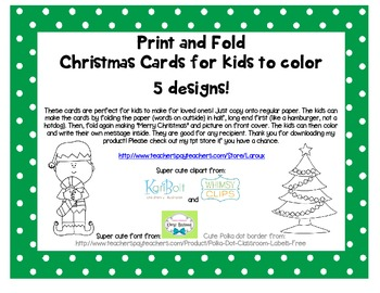 Print, fold and color Christmas cards for kids and students to make ~ 5 designs