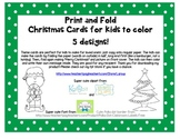Print, fold and color Christmas cards for kids and student