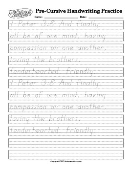 Print handwriting Practice I Peter 3:8