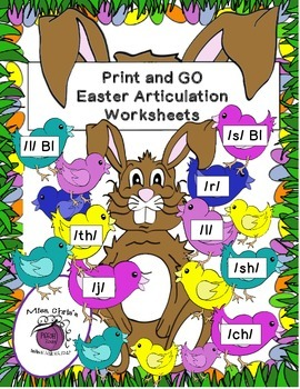 Print-n-GO Artic/Speech Rhyming Activities for Easter {8 sounds all positions}