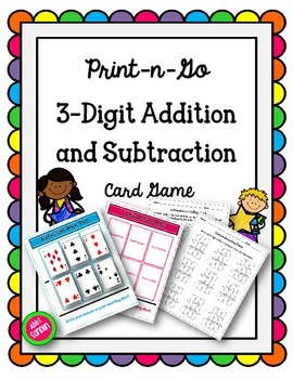 Print-n-Go 3-Digit Addition and Subtraction Card Game