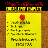 Print on sticky notes - Editable PDF